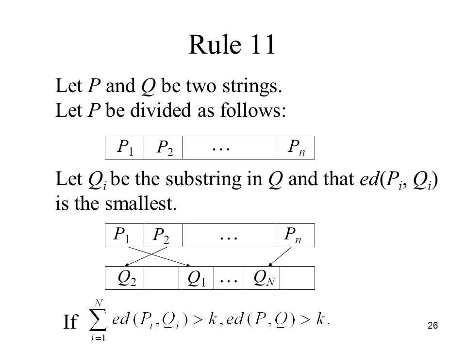 26 Rule 11 Let P and Q be two strings.