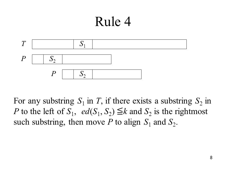 8 Rule 4 For any substring S 1 in T, if there exists a substring S 2 in P to the left of S 1, ed(S 1, S 2 ) k and S 2 is the rightmost such substring, then move P to align S 1 and S 2.