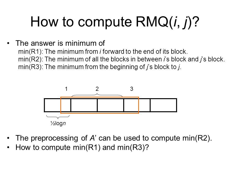How to compute RMQ(i, j).