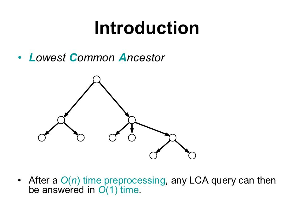 Lowest Common Ancestor After a O(n) time preprocessing, any LCA query can then be answered in O(1) time.