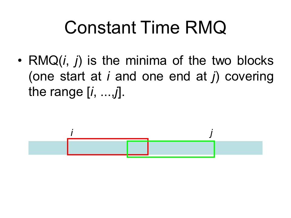 Constant Time RMQ ij RMQ(i, j) is the minima of the two blocks (one start at i and one end at j) covering the range [i,...,j].