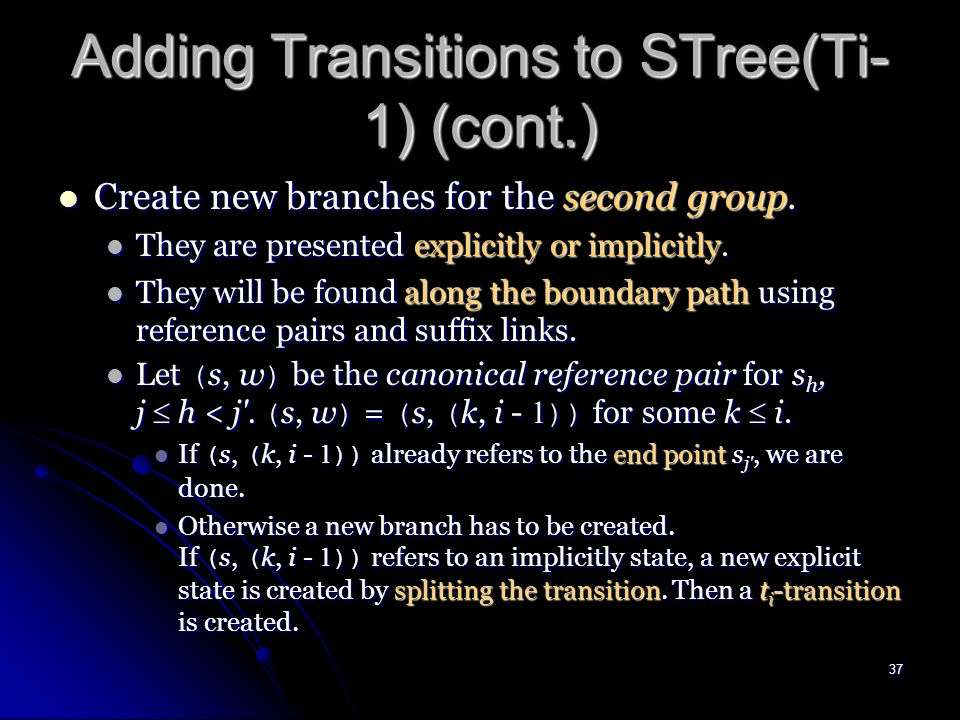 36 Open Transitions ab b d first group second group STree ( T i ) t i = d We color the new transition and new node green active point end point T i- 1 = abcab (3, ) abcabd (3, ) bcabd (3, ) cabd dd ab (1,2) b(2,2)