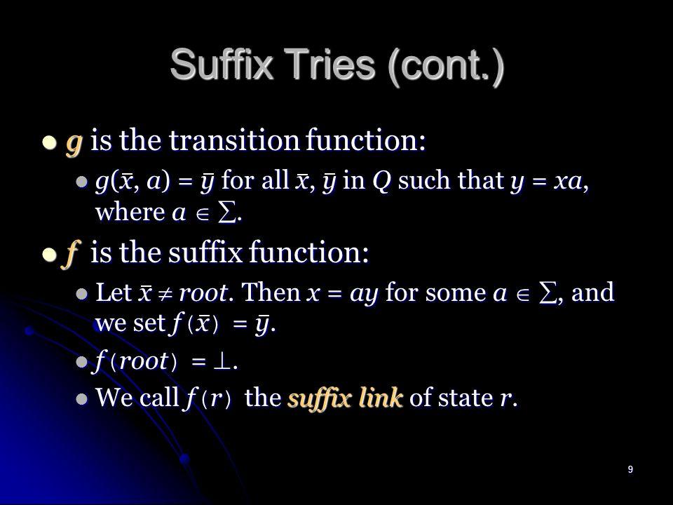 8 STrie ( T ) = ( Q { }, root, F, g, f ). STrie ( T ) = ( Q { }, root, F, g, f ).