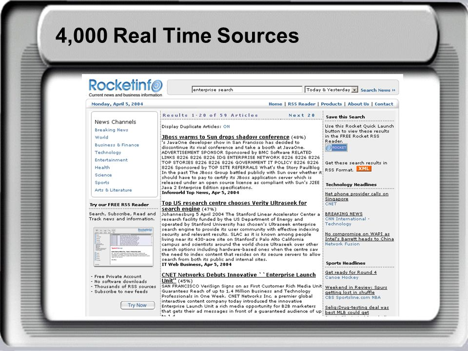 4,000 Real Time Sources