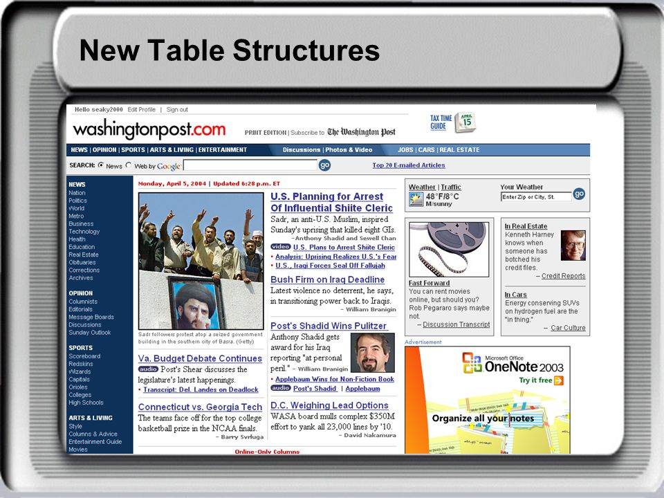 New Table Structures