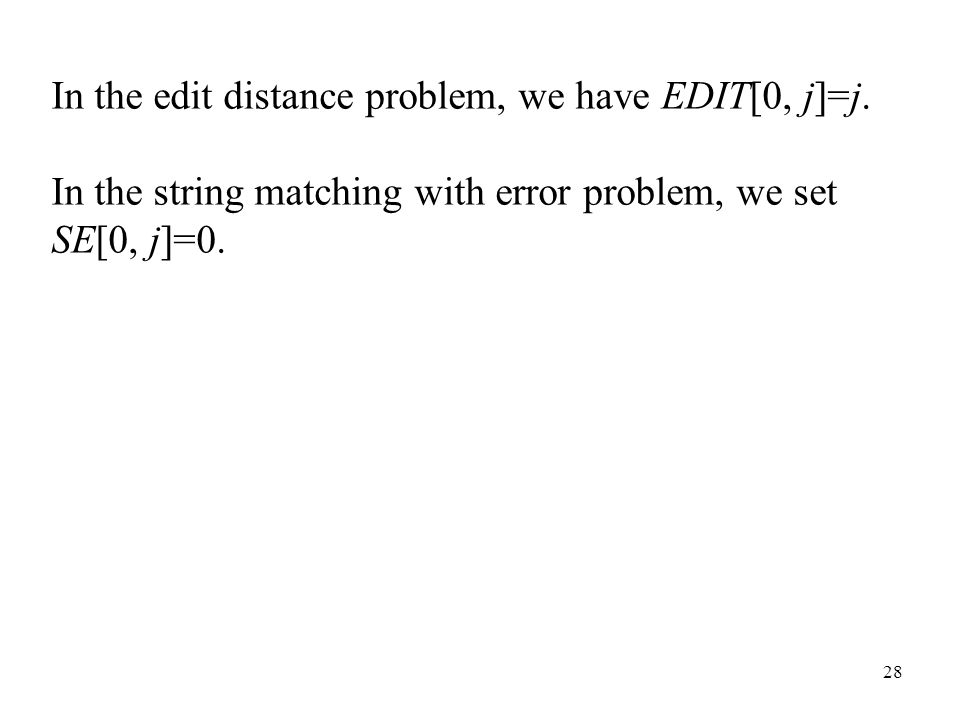 28 In the edit distance problem, we have EDIT[0, j]=j.