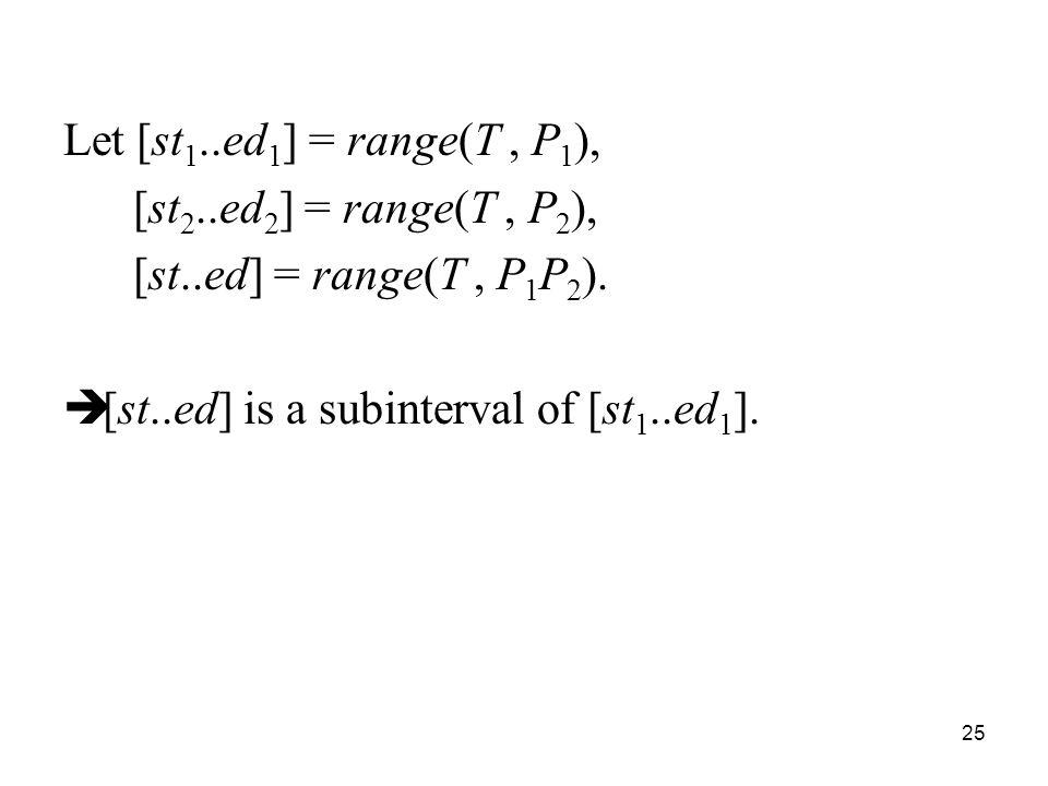 25 Let [st 1..ed 1 ] = range(T, P 1 ), [st 2..ed 2 ] = range(T, P 2 ), [st..ed] = range(T, P 1 P 2 ).