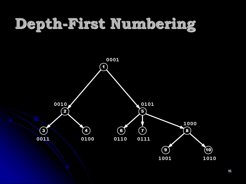 16 1 2 34 5 678 910 0001 0010 00110100 0101 01100111 1000 10011010 Depth-First Numbering