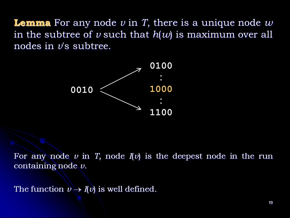 19 Lemma For any node v in T, there is a unique node w in the subtree of v such that h ( w ) is maximum over all nodes in v s subtree.