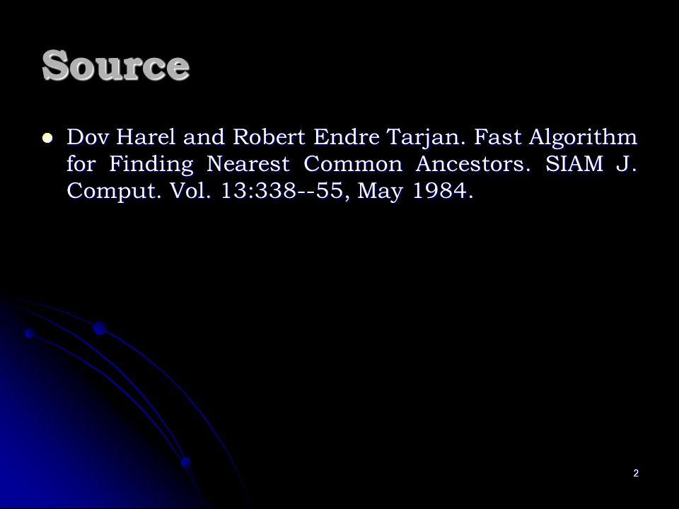 2 Source Dov Harel and Robert Endre Tarjan. Fast Algorithm for Finding Nearest Common Ancestors. SIAM J. Comput. Vol. 13:338--55, May 1984. Dov Harel