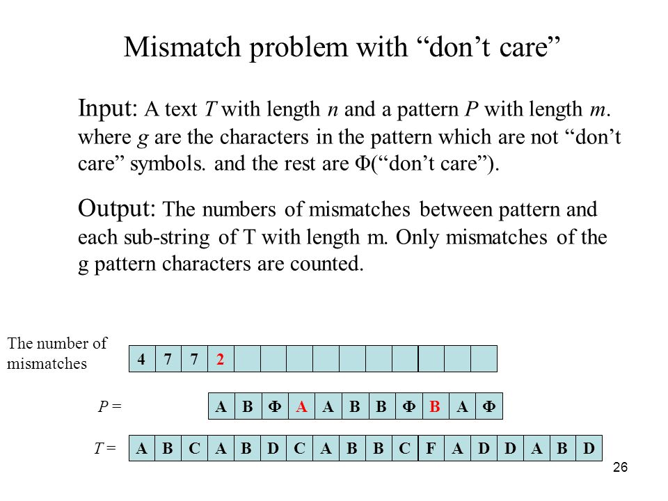 26 Mismatch problem with dont care Input: A text T with length n and a pattern P with length m.