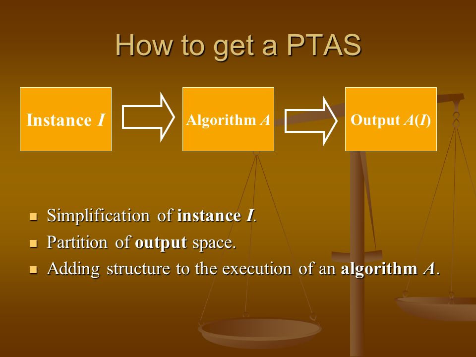 How to get a PTAS Simplification of instance I. Simplification of instance I.