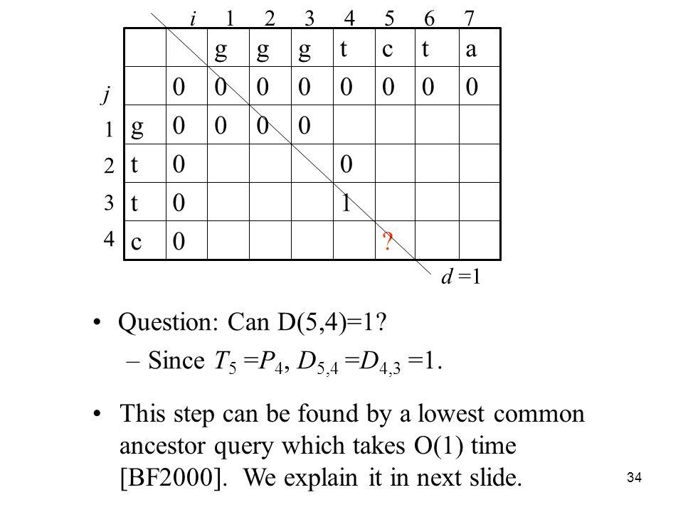 34 Question: Can D(5,4)=1. –Since T 5 =P 4, D 5,4 =D 4,3 =1.