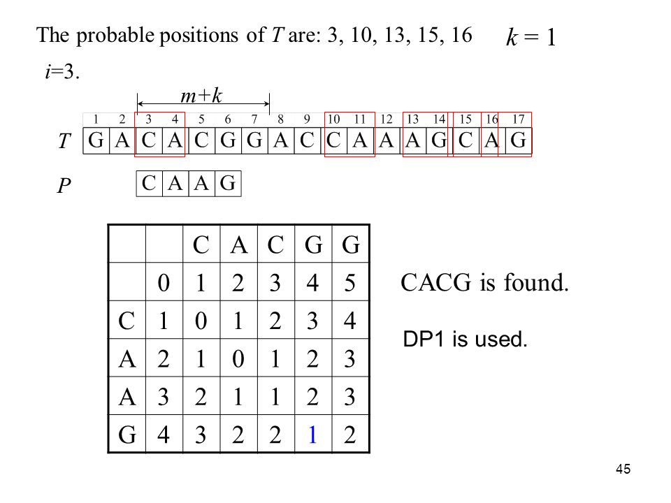 45 m+k CACGG C A A G The probable positions of T are: 3, 10, 13, 15, 16 CACG is found.