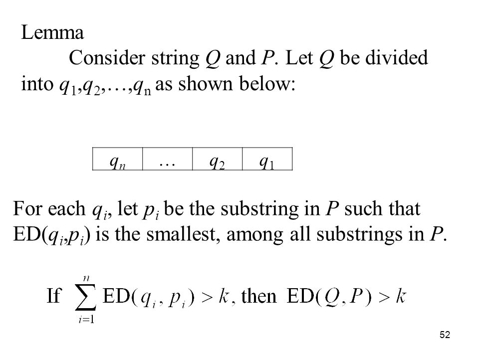 52 Lemma Consider string Q and P.