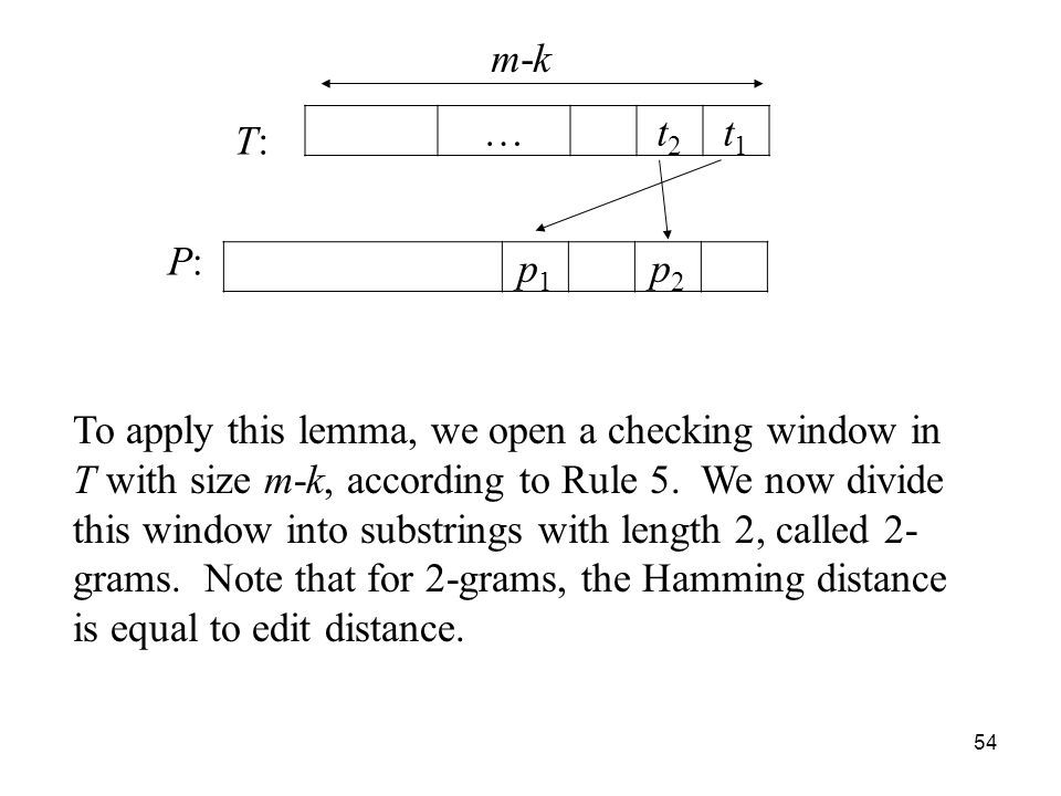 54 To apply this lemma, we open a checking window in T with size m-k, according to Rule 5.