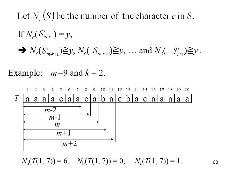 63 If N c ( ) = y, N c ( ) y, N c ( ) y, … and N c ( ) y.