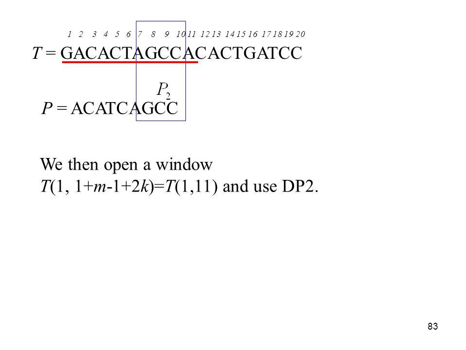 83 1 2 3 4 5 6 7 8 9 10 11 12 13 14 15 16 17 18 19 20 T = GACACTAGCCACACTGATCC P = ACATCAGCC We then open a window T(1, 1+m-1+2k)=T(1,11) and use DP2.