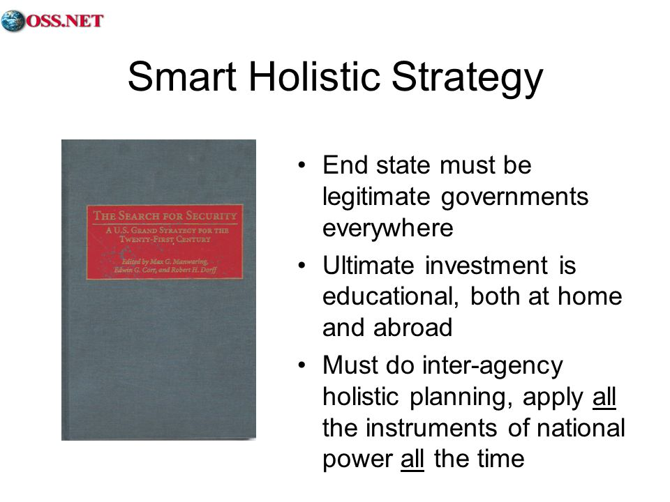 Smart Holistic Strategy End state must be legitimate governments everywhere Ultimate investment is educational, both at home and abroad Must do inter-agency holistic planning, apply all the instruments of national power all the time