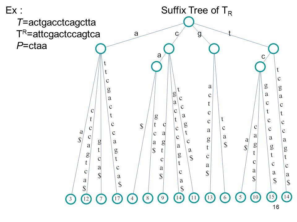 16 Ex T=actgacctcagctta T R =attcgactccagtca P=ctaa Suffix Tree of T R