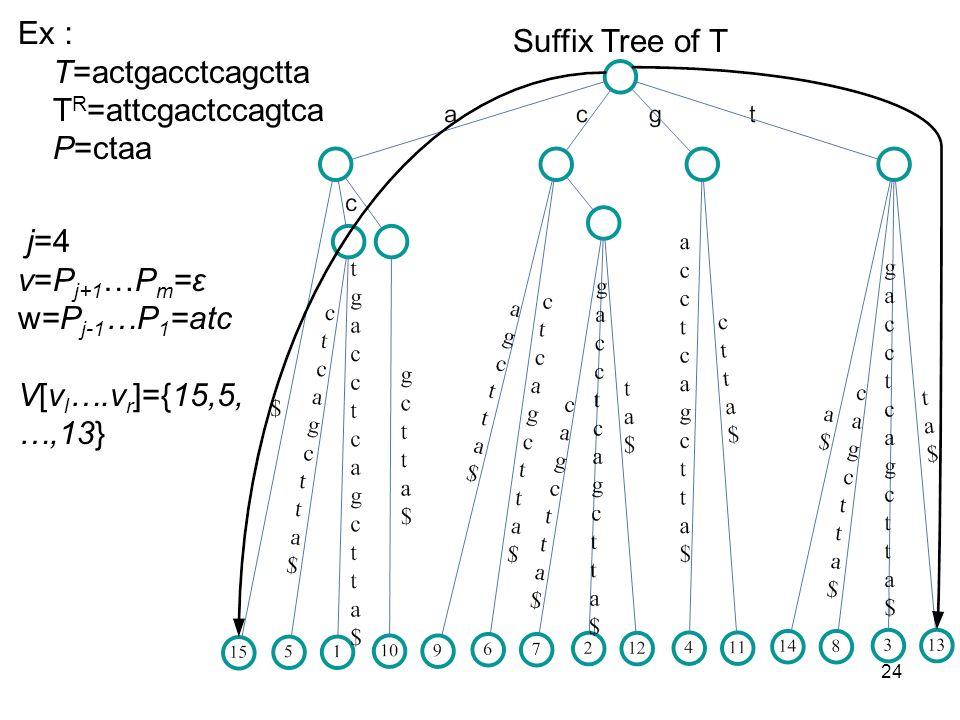 24 Suffix Tree of T Ex T=actgacctcagctta T R =attcgactccagtca P=ctaa j=4 v=P j+1 …P m =ε w=P j-1 …P 1 =atc V[v l ….v r ]={15,5, …,13}