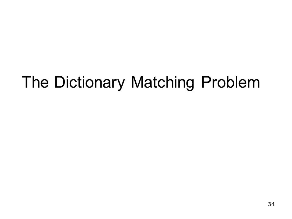 34 The Dictionary Matching Problem