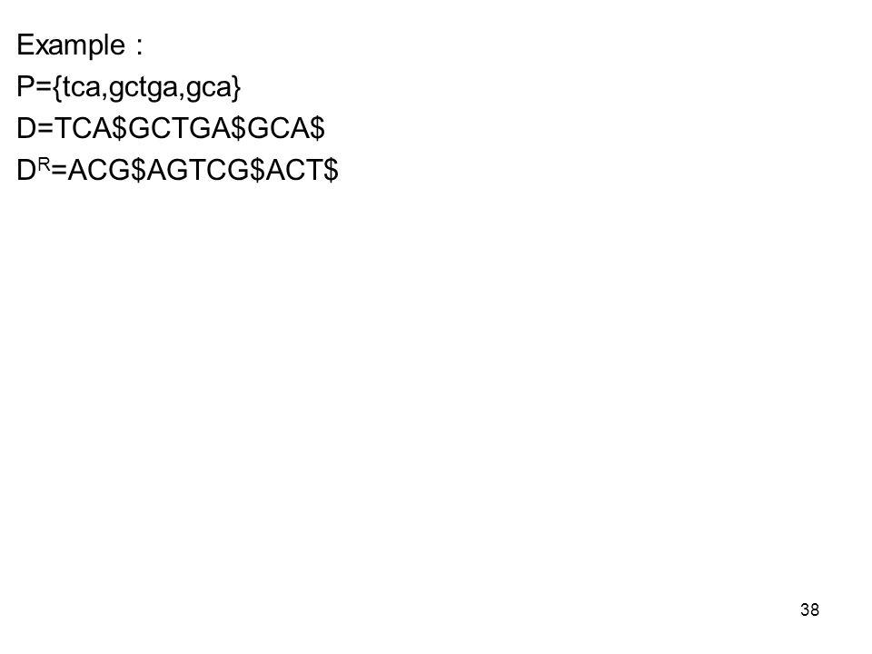 38 Example P={tca,gctga,gca} D=TCA$GCTGA$GCA$ D R =ACG$AGTCG$ACT$