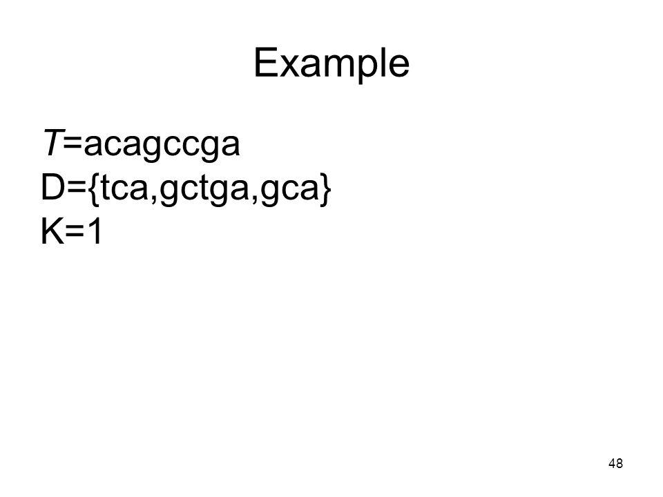 48 Example T=acagccga D={tca,gctga,gca} K=1