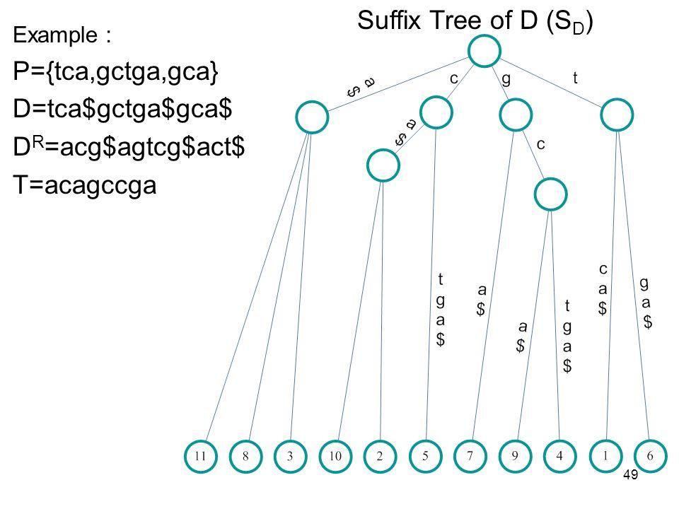 49 Suffix Tree of D (S D ) Example P={tca,gctga,gca} D=tca$gctga$gca$ D R =acg$agtcg$act$ T=acagccga