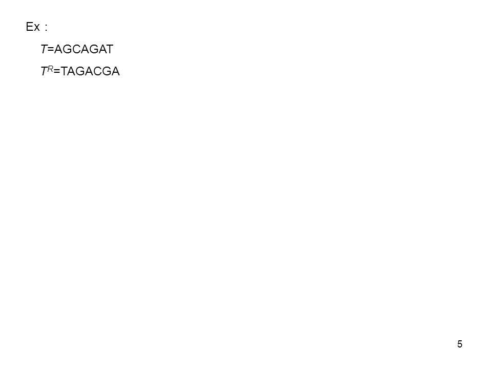 5 Ex T=AGCAGAT T R =TAGACGA
