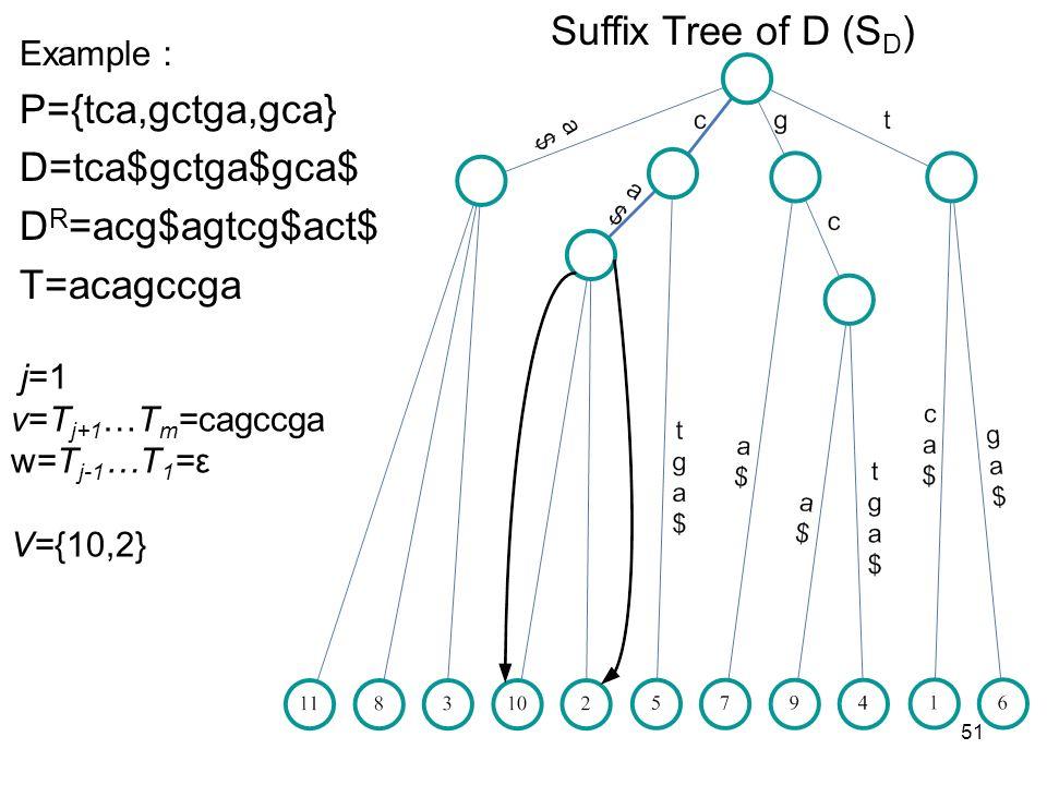 51 Suffix Tree of D (S D ) Example P={tca,gctga,gca} D=tca$gctga$gca$ D R =acg$agtcg$act$ T=acagccga j=1 v=T j+1 …T m =cagccga w=T j-1 …T 1 =ε V={10,2