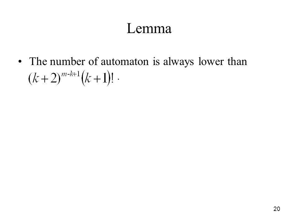 20 Lemma The number of automaton is always lower than.