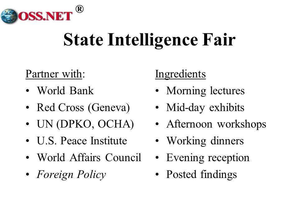 ® State Intelligence Fair Partner with: World Bank Red Cross (Geneva) UN (DPKO, OCHA) U.S.