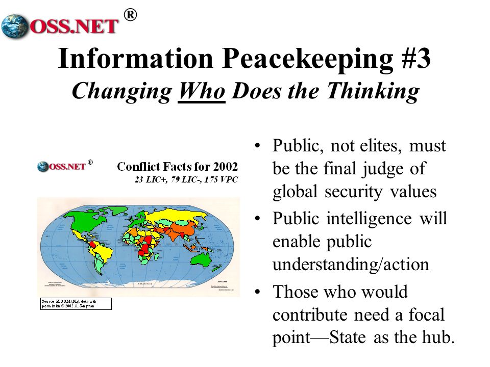 ® Information Peacekeeping #3 Changing Who Does the Thinking Public, not elites, must be the final judge of global security values Public intelligence