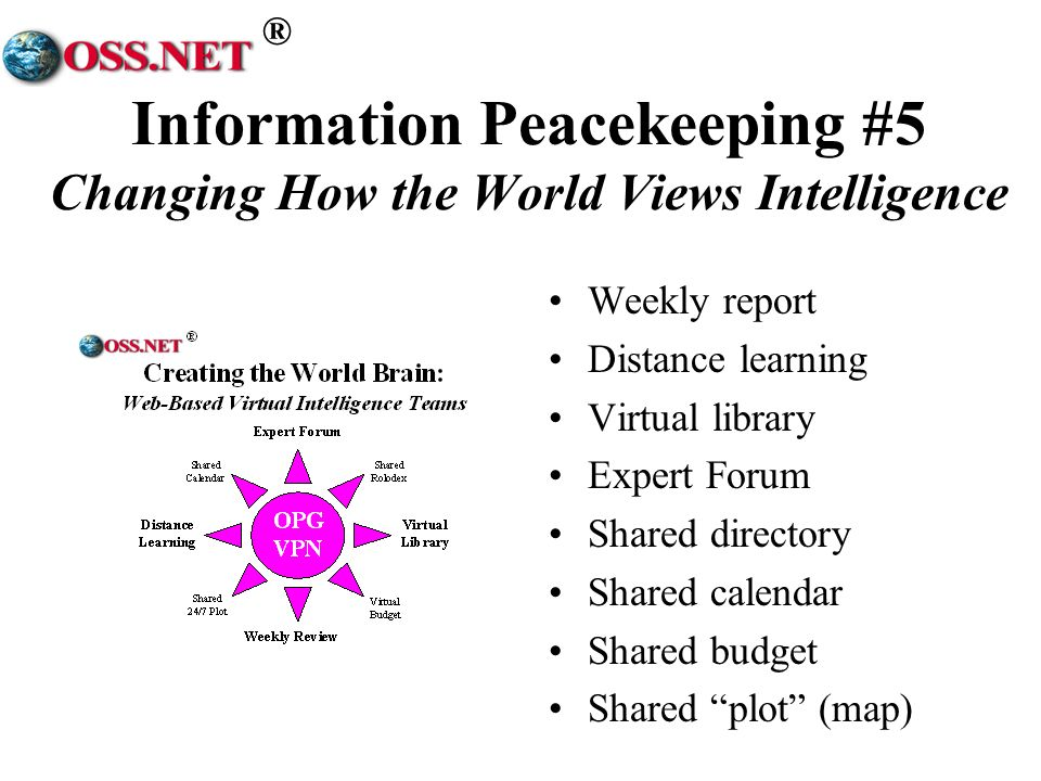 ® Information Peacekeeping #5 Changing How the World Views Intelligence Weekly report Distance learning Virtual library Expert Forum Shared directory