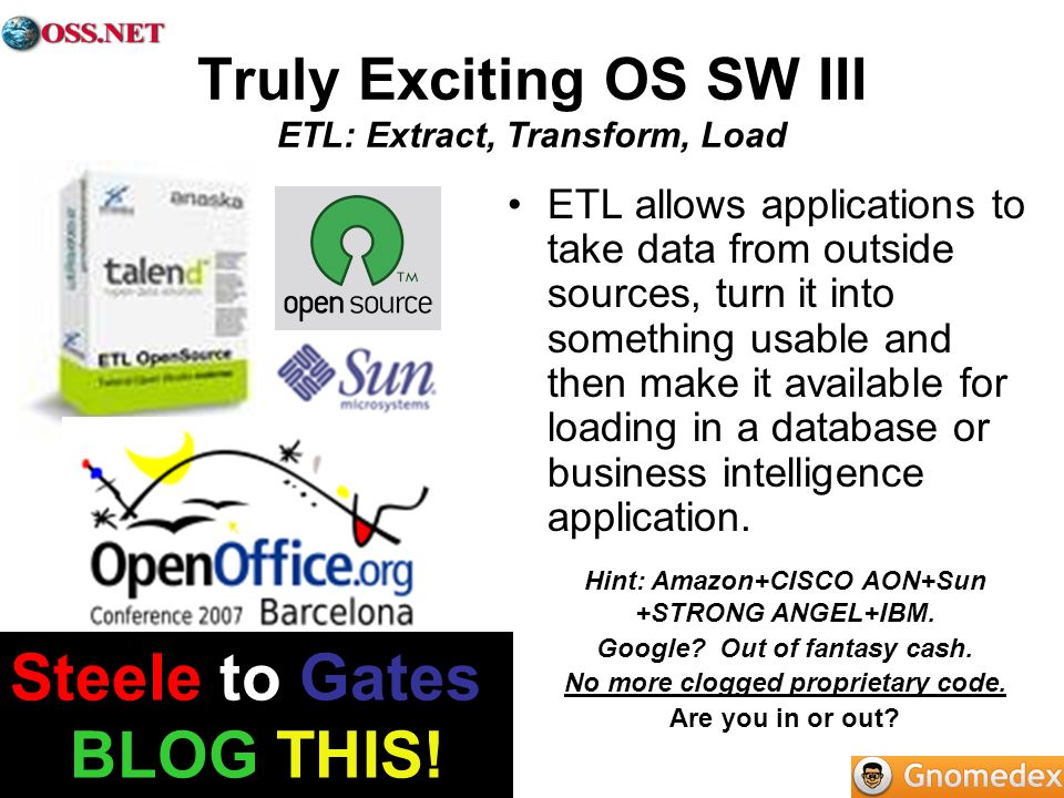Truly Exciting OS SW III ETL: Extract, Transform, Load ETL allows applications to take data from outside sources, turn it into something usable and then make it available for loading in a database or business intelligence application.