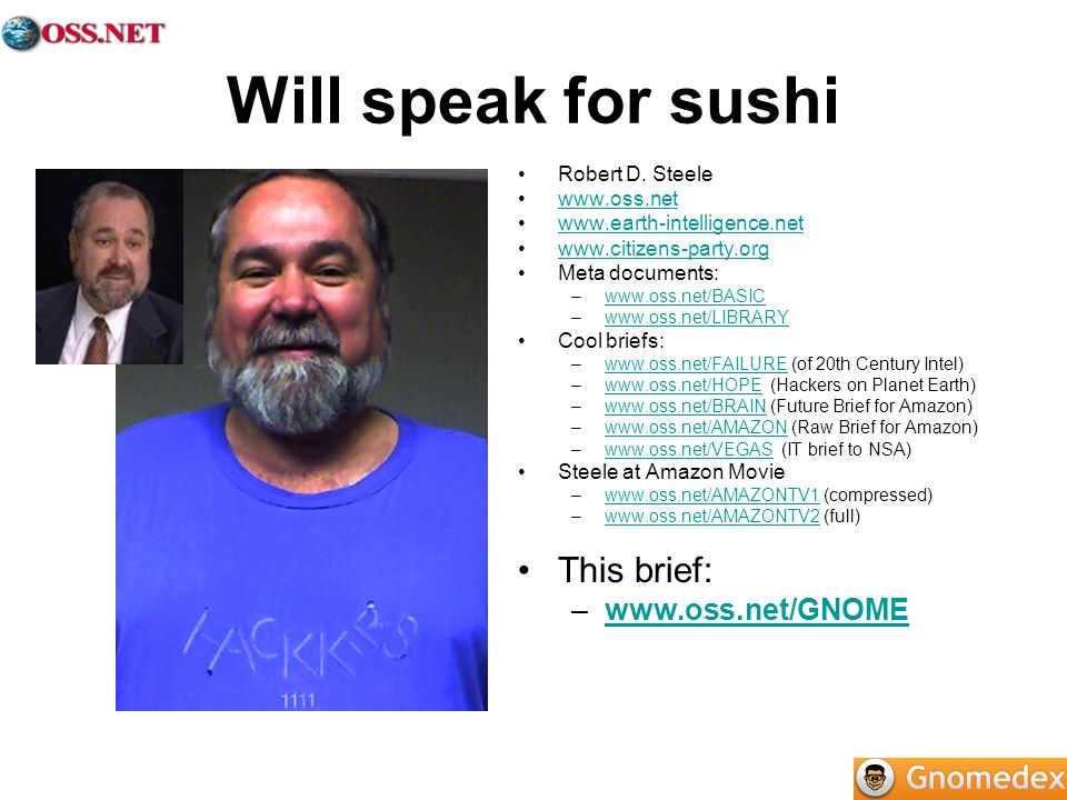 Will speak for sushi Robert D.