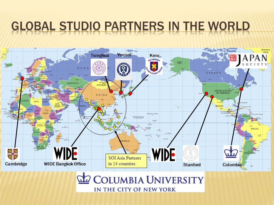 SOI Asia Partners in 14 countries Keio Yonsei Tsinghua CambridgeWIDE Bangkok Office StanfordColombia