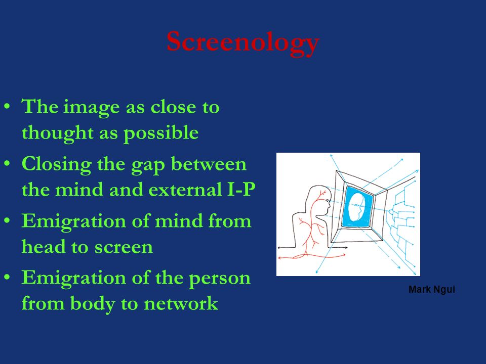 Screenology The image as close to thought as possible Closing the gap between the mind and external I-P Emigration of mind from head to screen Emigration of the person from body to network Mark Ngui