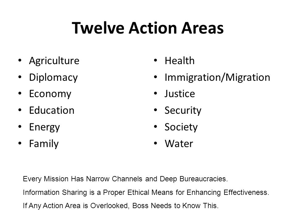 Twelve Action Areas Agriculture Diplomacy Economy Education Energy Family Health Immigration/Migration Justice Security Society Water Every Mission Has Narrow Channels and Deep Bureaucracies.