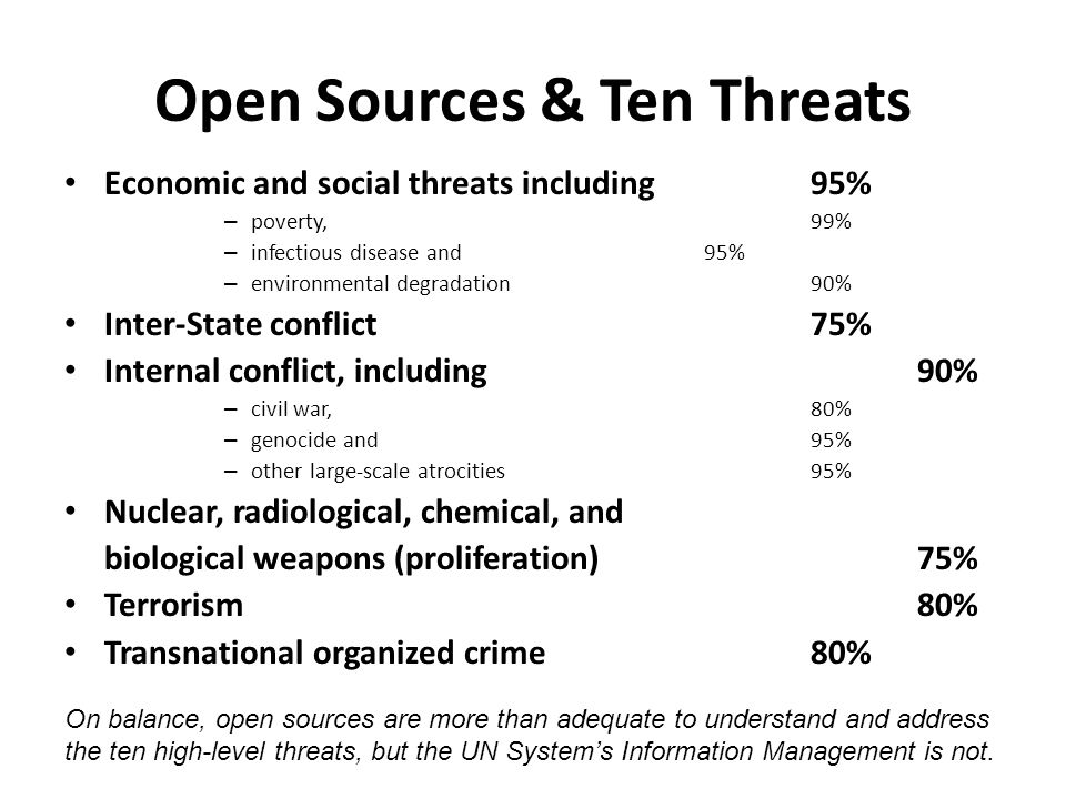 Open Sources & Ten Threats Economic and social threats including 95% – poverty,99% – infectious disease and 95% – environmental degradation90% Inter-S
