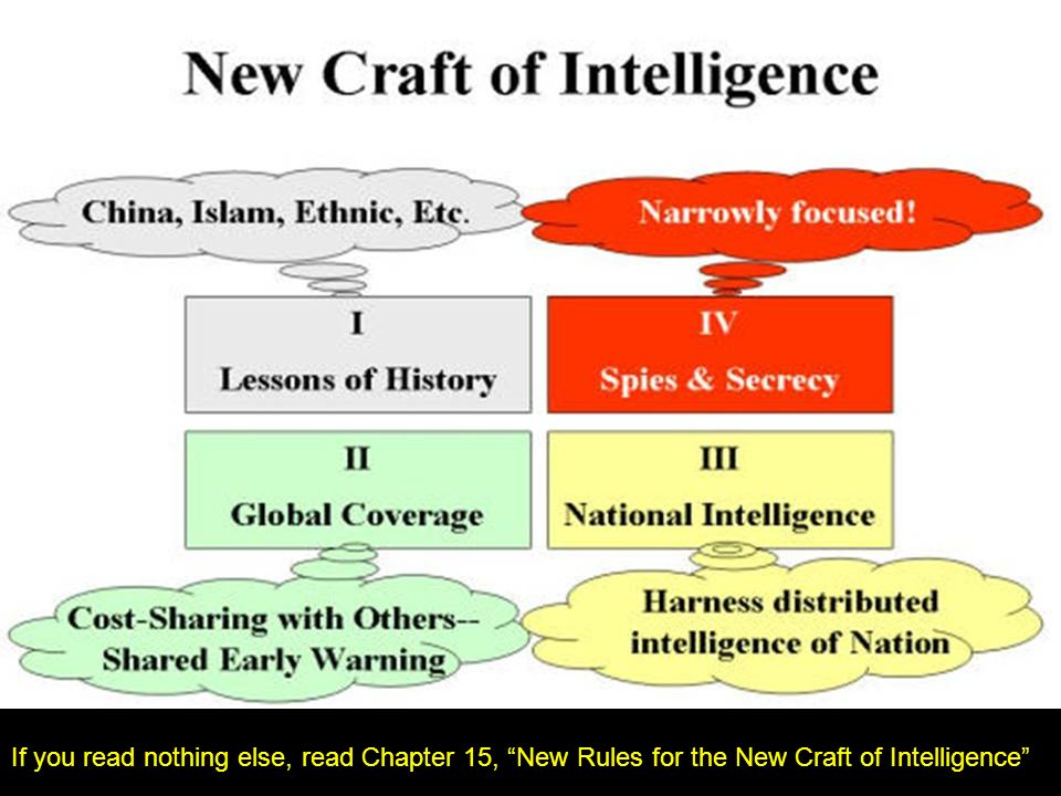 If you read nothing else, read Chapter 15, New Rules for the New Craft of Intelligence
