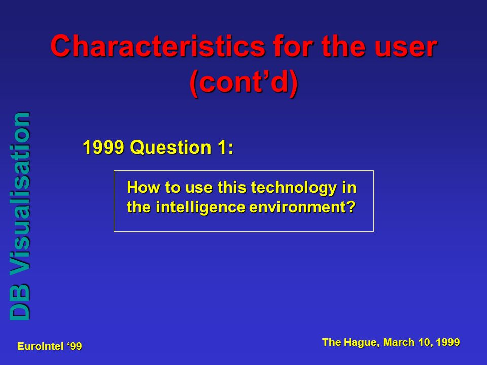 EuroIntel 99 The Hague, March 10, 1999 DB Visualisation 1999 Question 1: How to use this technology in the intelligence environment.