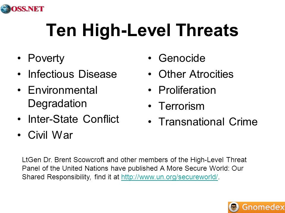 Ten High-Level Threats Poverty Infectious Disease Environmental Degradation Inter-State Conflict Civil War Genocide Other Atrocities Proliferation Terrorism Transnational Crime LtGen Dr.