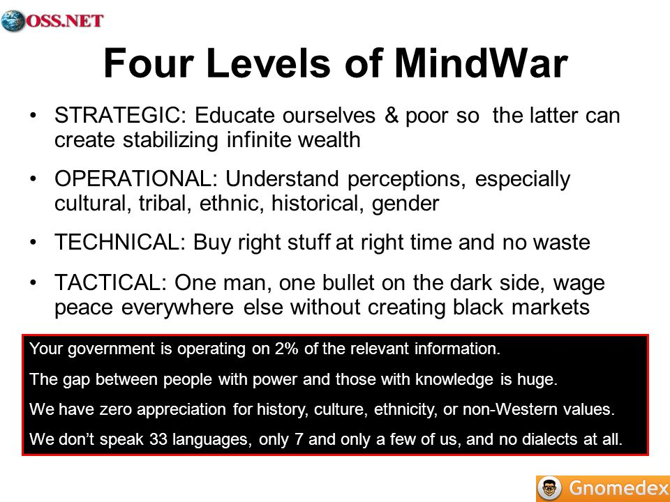 Four Levels of MindWar STRATEGIC: Educate ourselves & poor so the latter can create stabilizing infinite wealth OPERATIONAL: Understand perceptions, especially cultural, tribal, ethnic, historical, gender TECHNICAL: Buy right stuff at right time and no waste TACTICAL: One man, one bullet on the dark side, wage peace everywhere else without creating black markets Your government is operating on 2% of the relevant information.