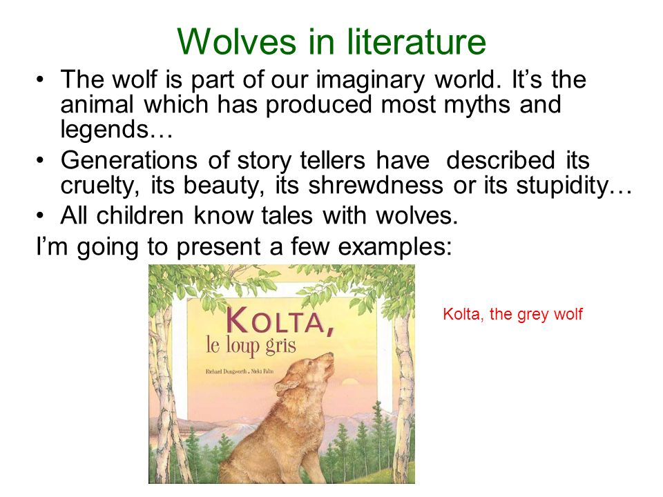 Wolves in literature The wolf is part of our imaginary world.