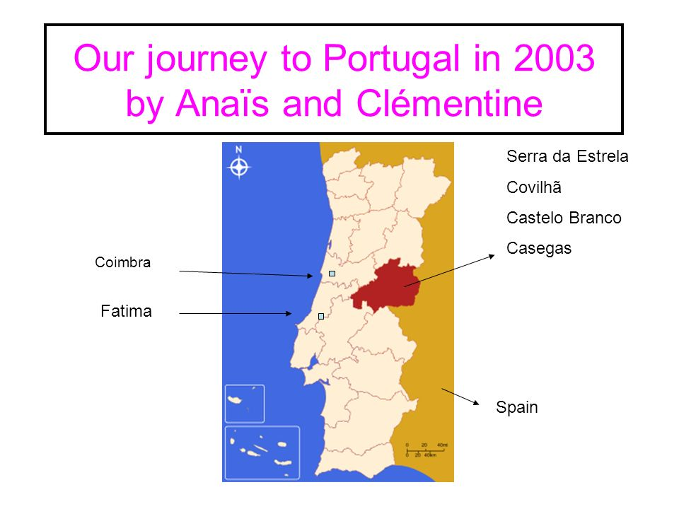 Our journey to Portugal in 2003 by Anaïs and Clémentine Serra da Estrela Covilhã Castelo Branco Casegas Fatima Coimbra Spain