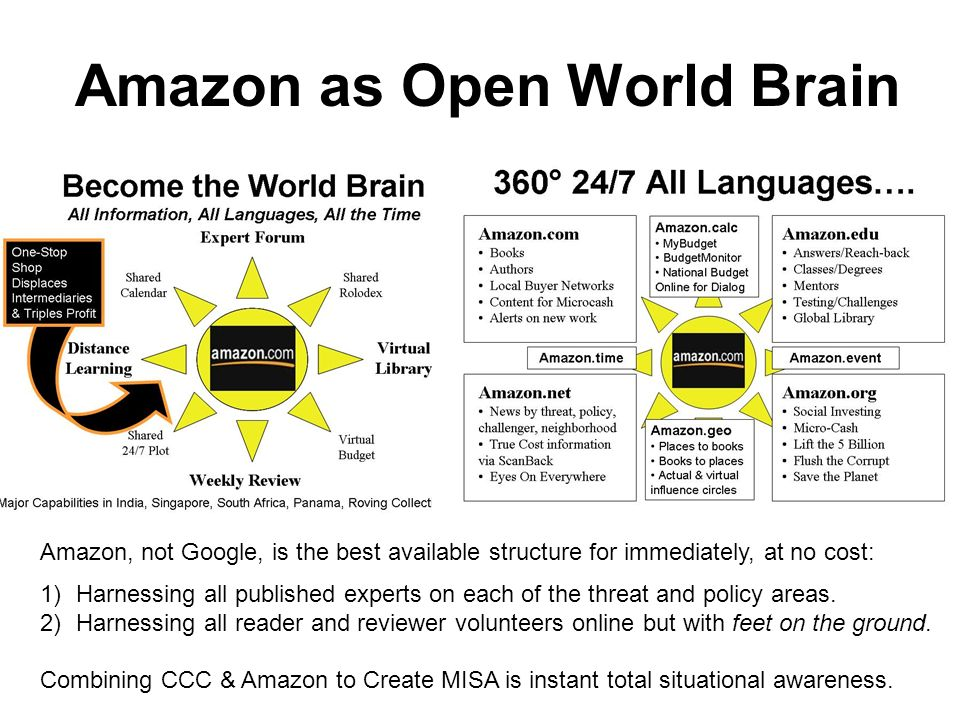 Amazon as Open World Brain Amazon, not Google, is the best available structure for immediately, at no cost: 1)Harnessing all published experts on each of the threat and policy areas.