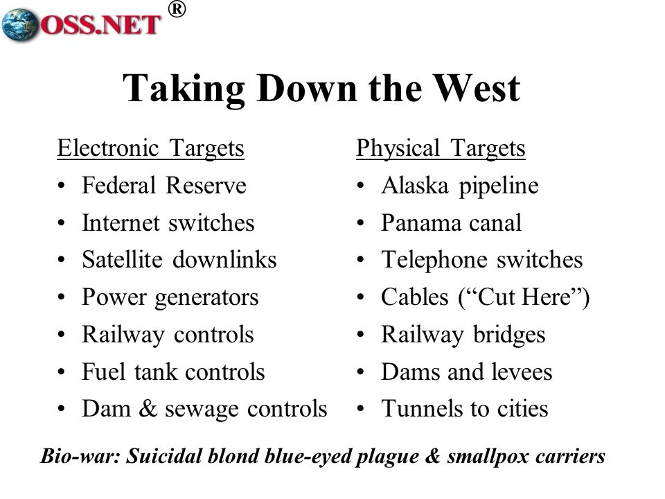 ® Taking Down the West Electronic Targets Federal Reserve Internet switches Satellite downlinks Power generators Railway controls Fuel tank controls Dam & sewage controls Physical Targets Alaska pipeline Panama canal Telephone switches Cables (Cut Here) Railway bridges Dams and levees Tunnels to cities Bio-war: Suicidal blond blue-eyed plague & smallpox carriers
