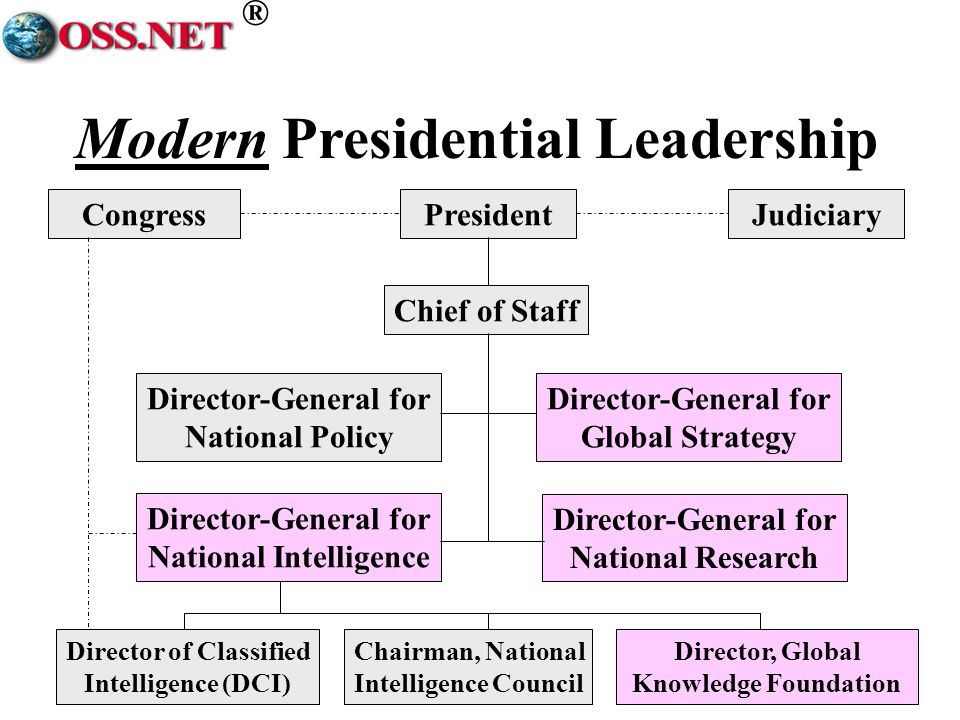 ® Modern Presidential Leadership PresidentCongressJudiciary Chief of Staff Director-General for National Policy Director-General for Global Strategy D